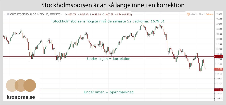 Stockholmsbörsen är än så länge bara i en korrektion