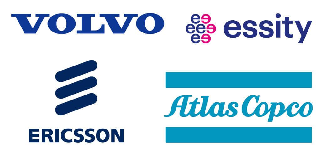 Fyra av Sveriges största företag: Volvo, Essity, Ericsson och AtlasCopco