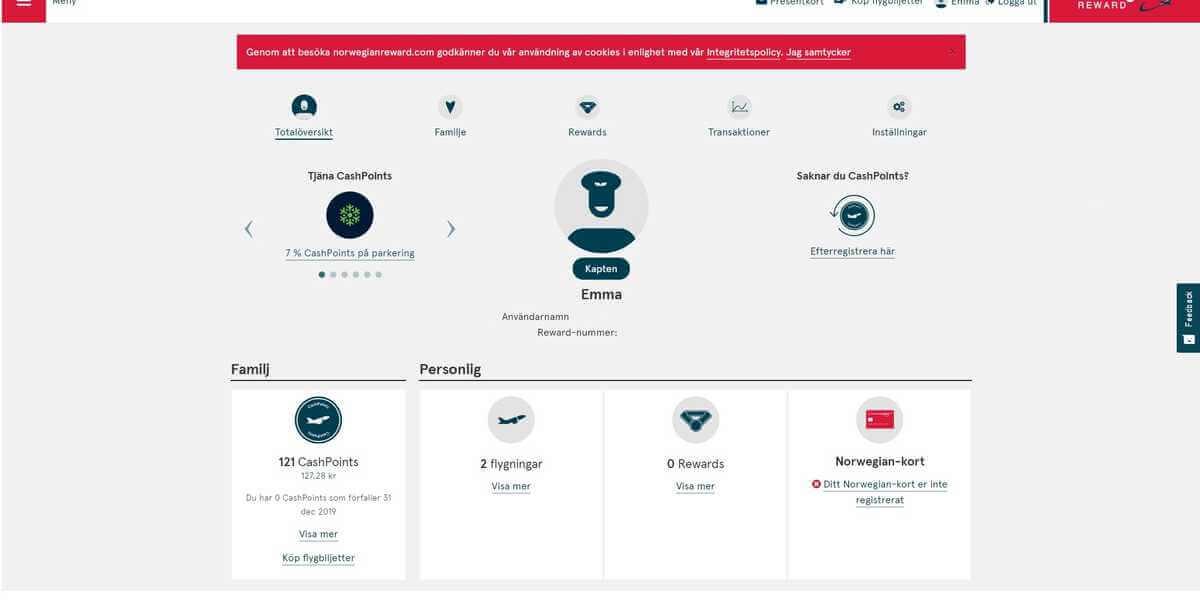 Reward-sida hos Bank Norwegian kreditkort