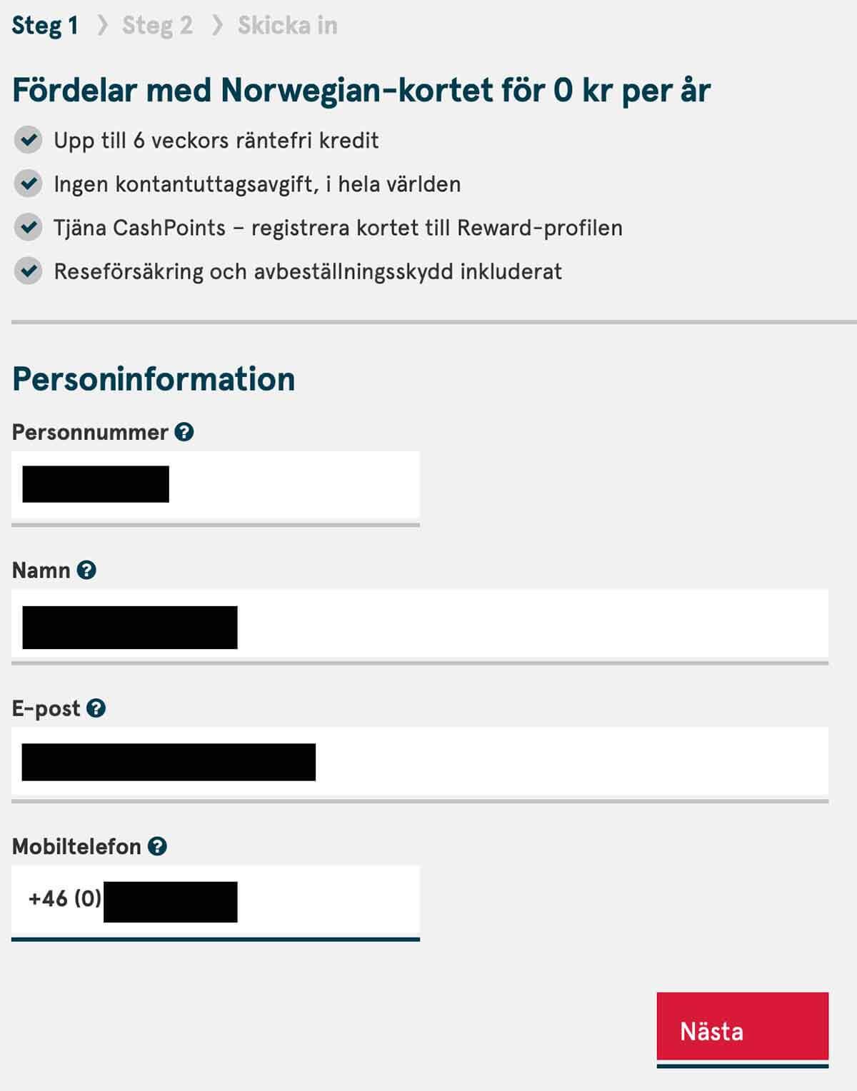 Steg 1 i ansökan om kreditkort från Norwegian - personinformation