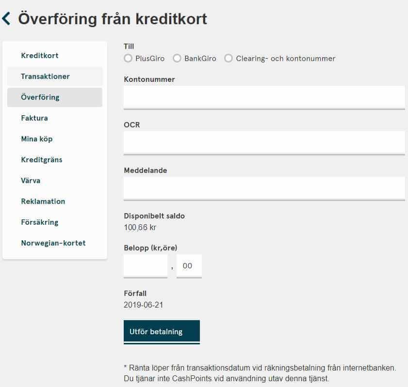 Överför pengar från Norwegians kreditkort till konto eller betala en räkning